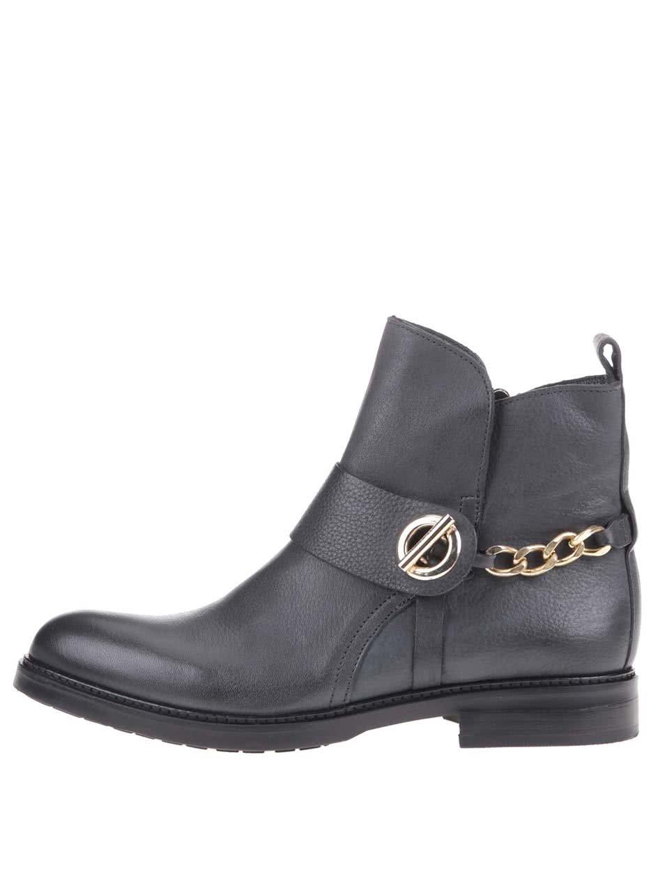 Šedé dámské kožené kotníkové boty Tommy Hilfiger Holly ... 7d75b2afa29