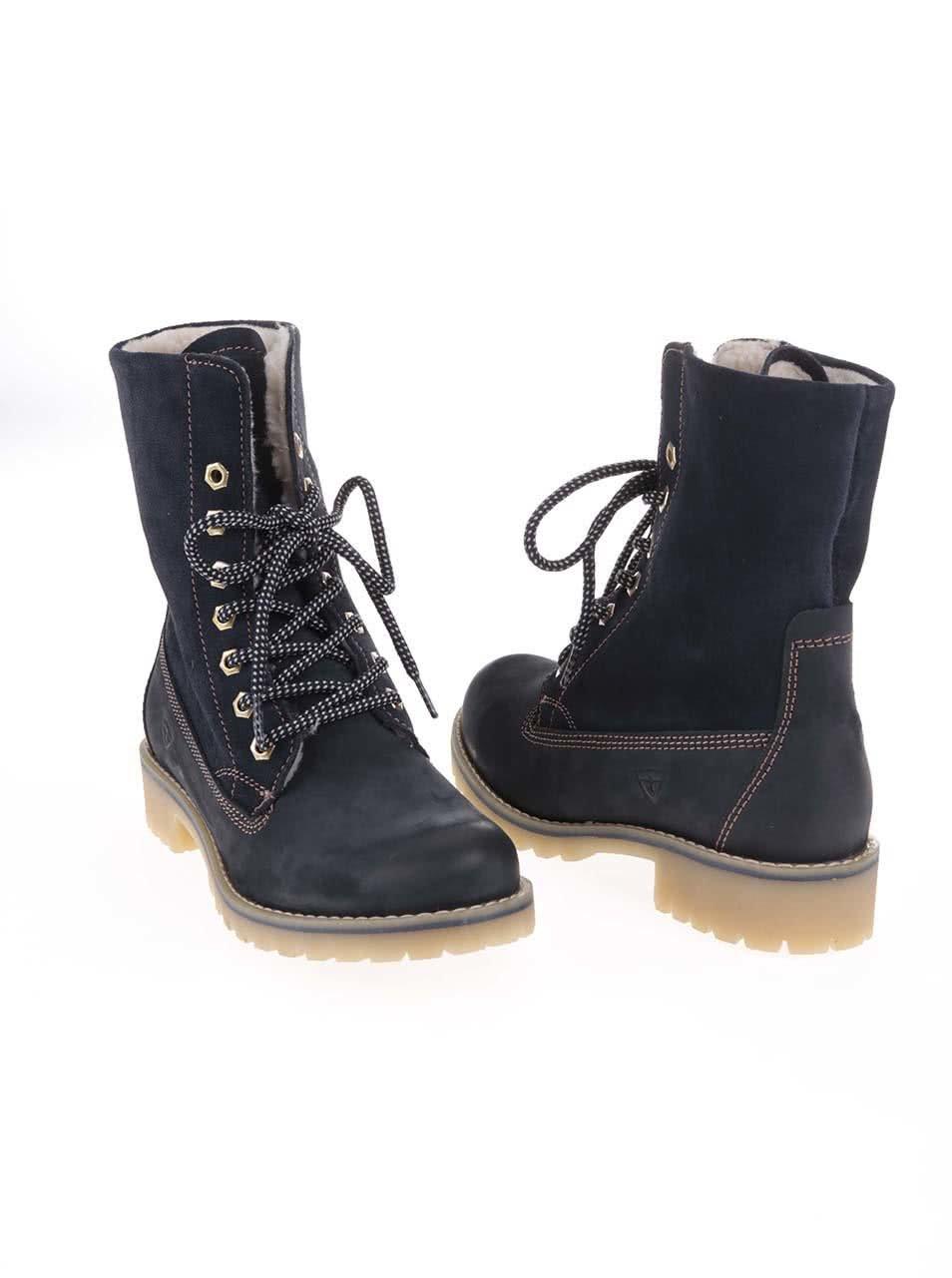 7d3ebdafcc Modré zimné kožené topánky s kožúškom Tamaris ...