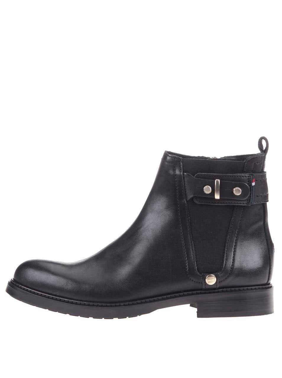 Černé dámské kožené kotníkové boty Tommy Hilfiger Holly ... c02efdb1ae