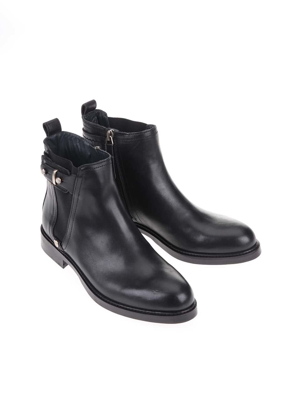 db4e87ce30 Čierne dámske kožené členkové topánky Tommy Hilfiger Holly ...