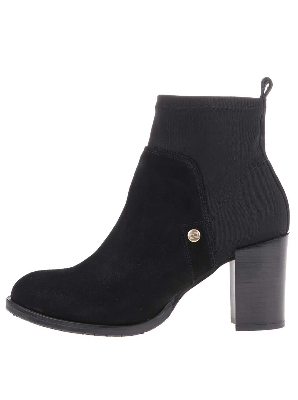 Čierne kožené členkové topánky na podpätku Tommy Hilfiger Penelope ... 568987bc3a2