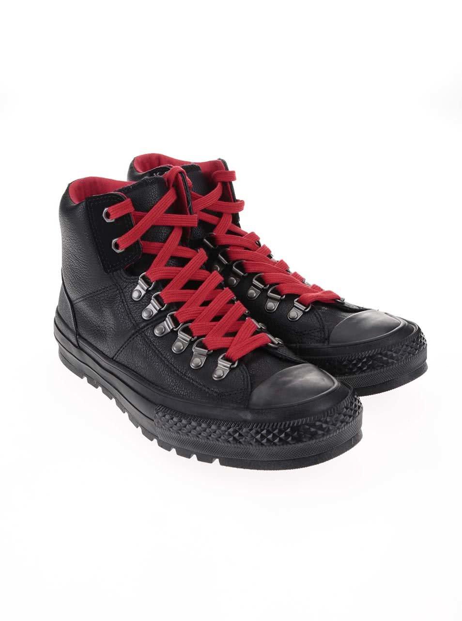 e2c0005aaf497 Čierne pánske kožené členkové tenisky Converse Chuck Taylor All Star Street  Hiker ...