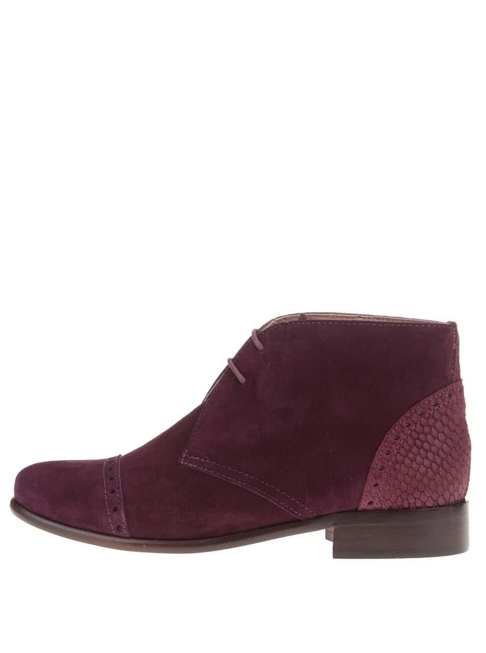 9bdf7454e7 Vínové kožené členkové topánky s výraznými detailmi OJJU ...