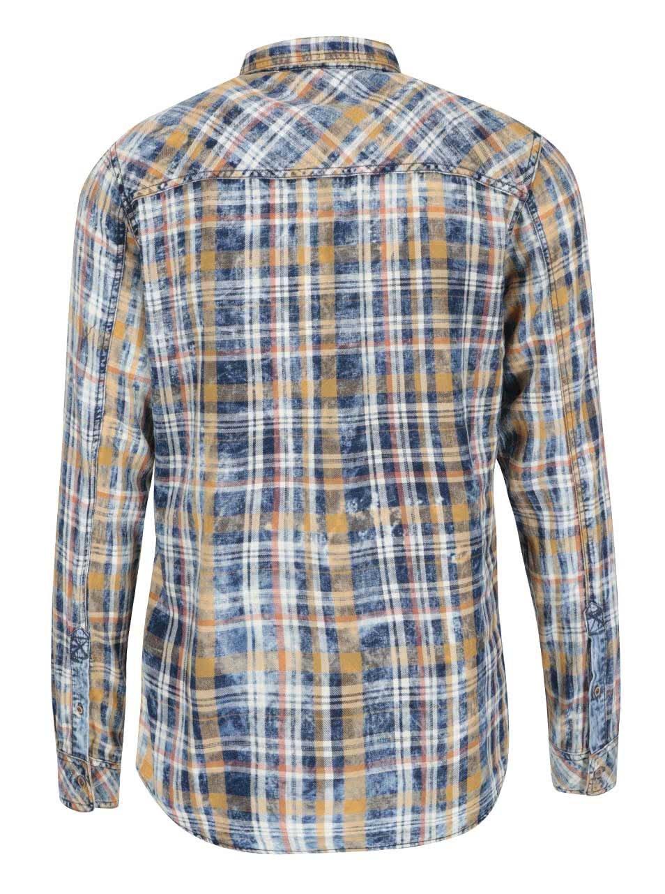 3947aec5d64b Žlto-modrá kockovaná vintage košeľa s oranžovými pruhmi !Solid Samu ...