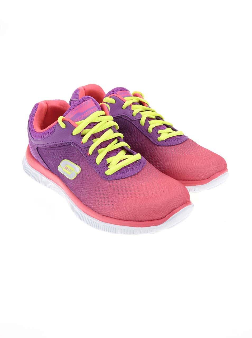 4a85a41ec6c22 Ružové dámske športové tenisky s duhovým efektom Skechers | ZOOT.sk