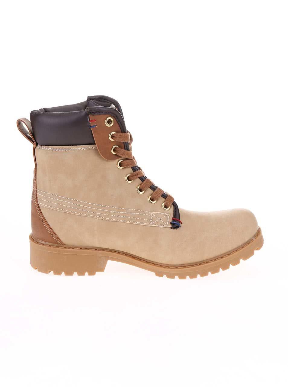 a2d615e6ea26 Béžové členkové šnurovacie topánky Xti ...