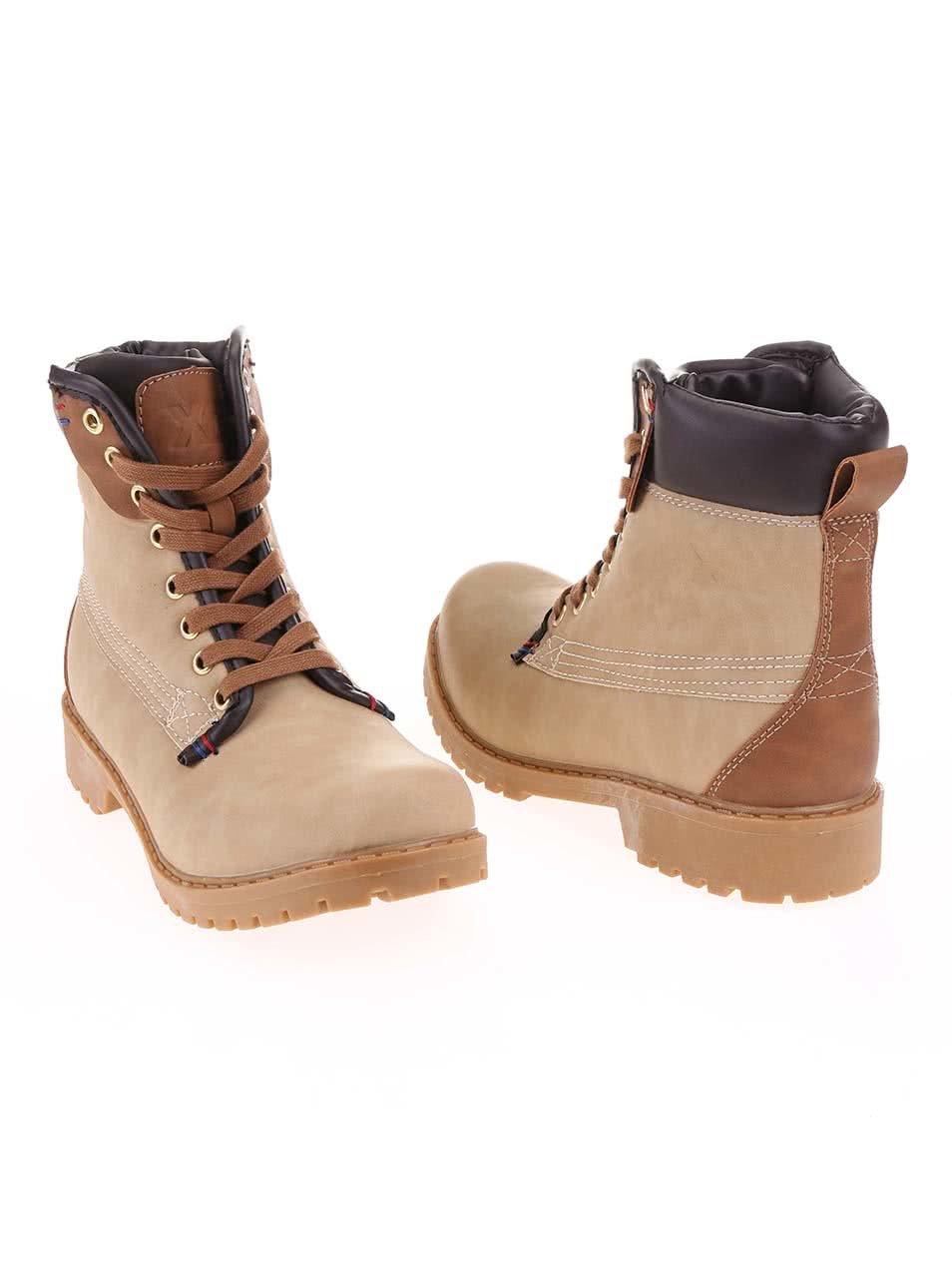 284ba618d746 Béžové členkové šnurovacie topánky Xti ...