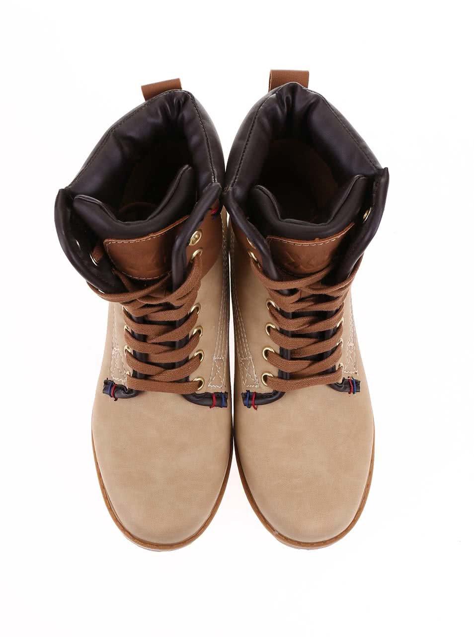 d63ef7c8a6 Béžové členkové šnurovacie topánky Xti ...