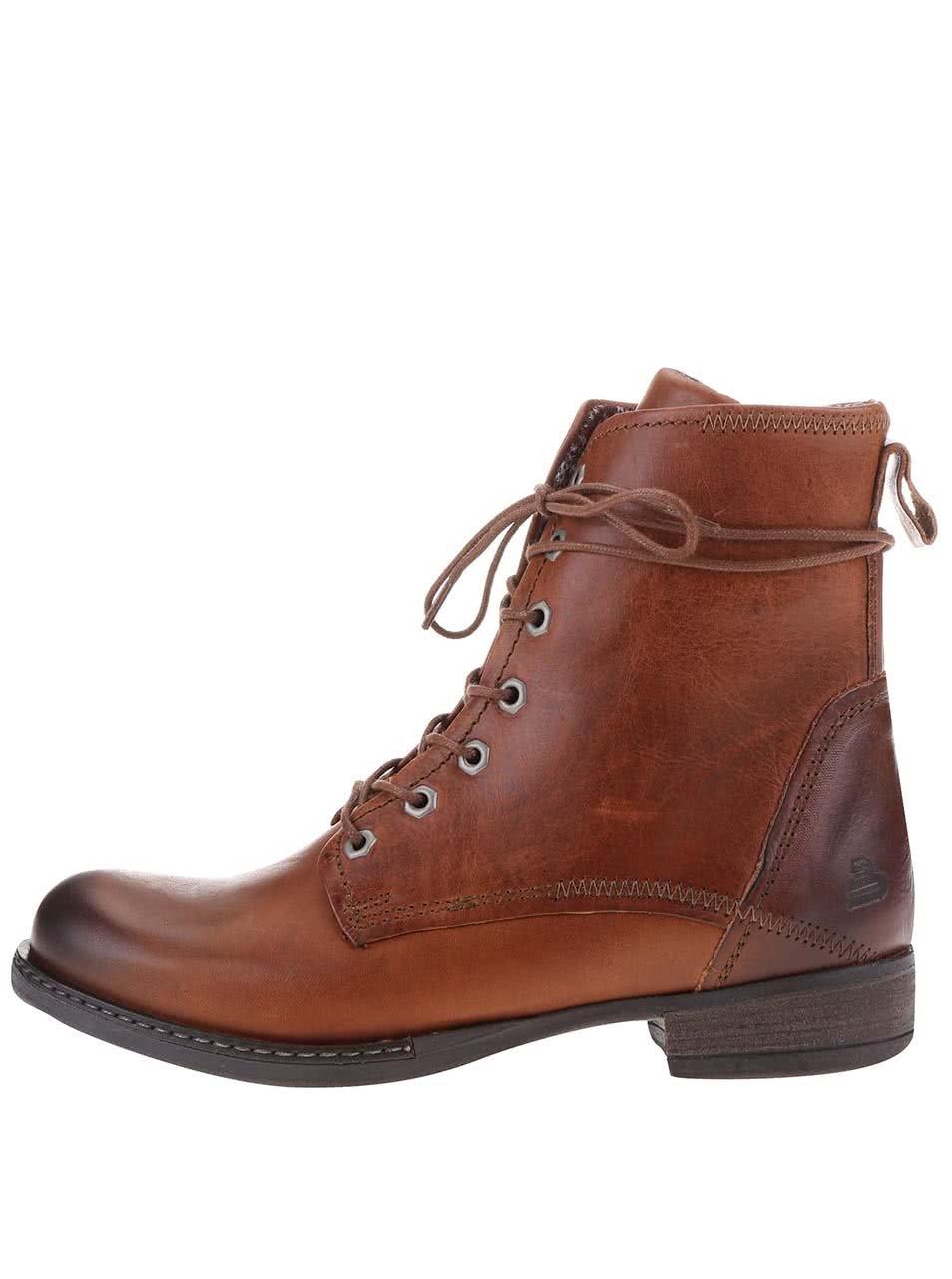 Hnědé dámské kožené šněrovací boty Bullboxer ... 11127b10f9