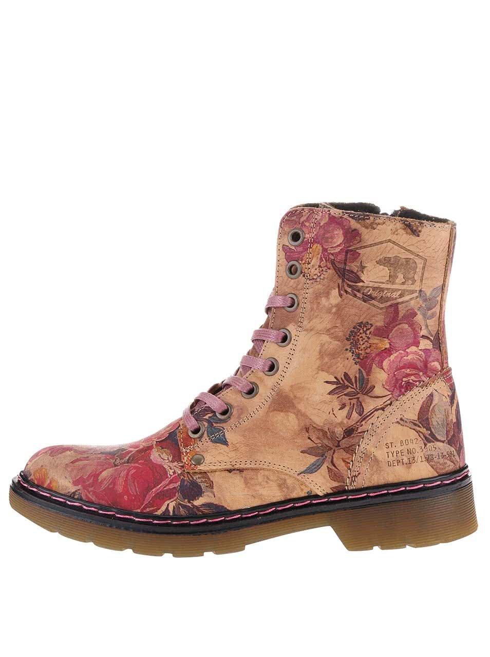 fa659c09a7520 Béžové dámske kožené kvetované topánky Bullboxer | ZOOT.sk