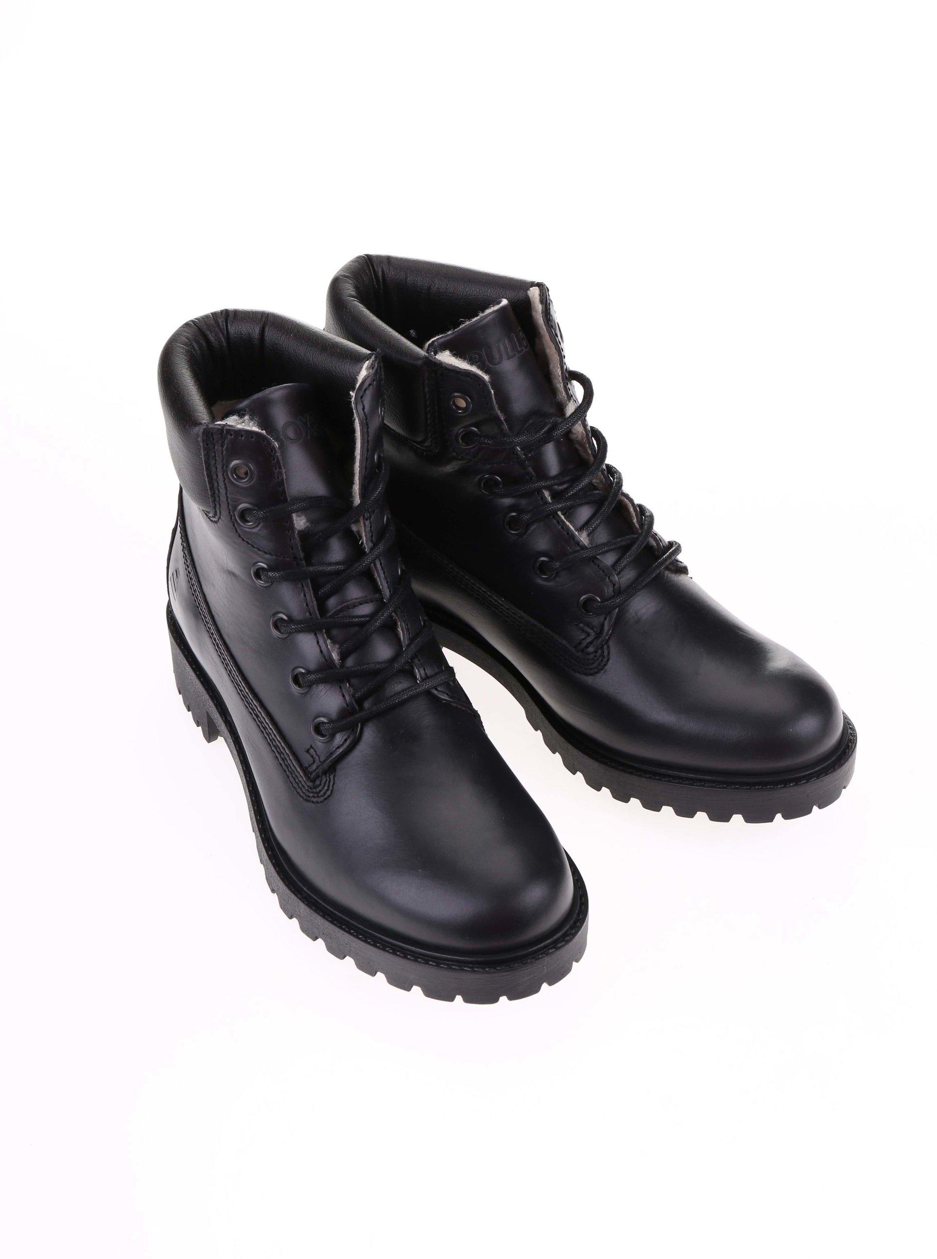 Čierne dámske kožené šnurovacie topánky s vnútornou kožušinkou Bullboxer ... b48bcf48881