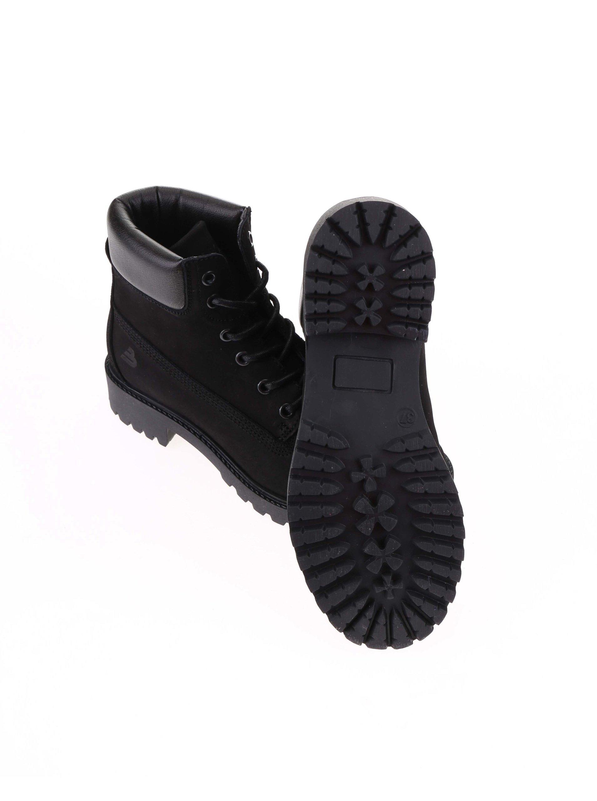 7354372ac06e Čierne dámske kožené topánky na šnurovanie Bullboxer ...