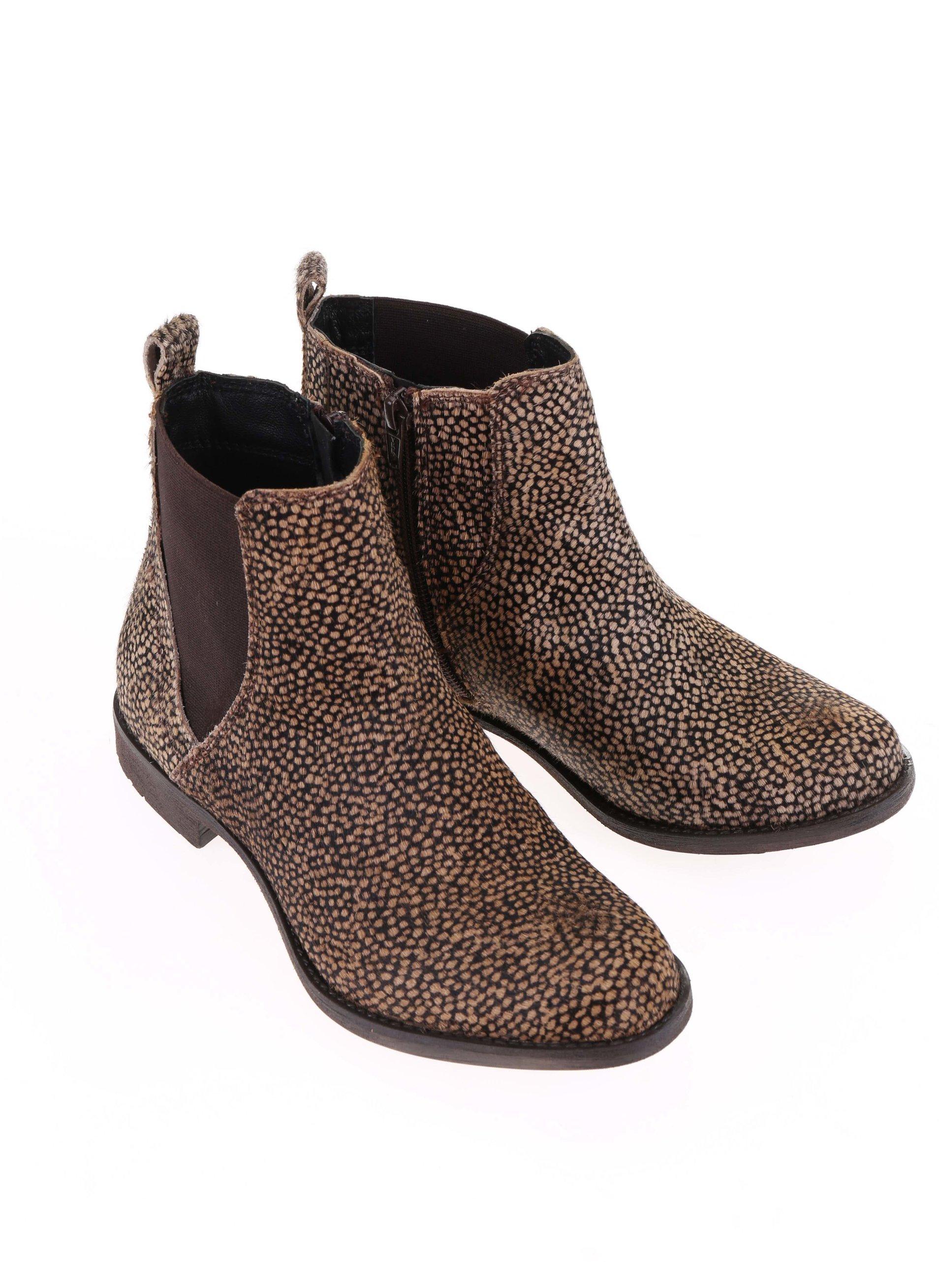 Čierno-hnedé dámske kožené členkové topánky Bullboxer ... c2ea497f83b