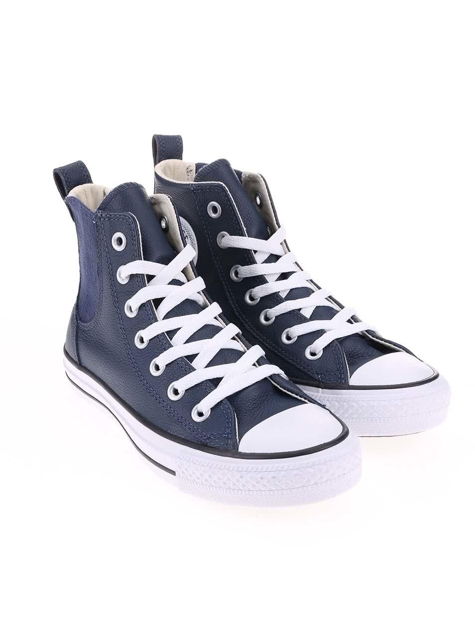 86ce2b3b337 Tmavě modré dámské kožené tenisky Converse Chuck Taylor Chelsee ...