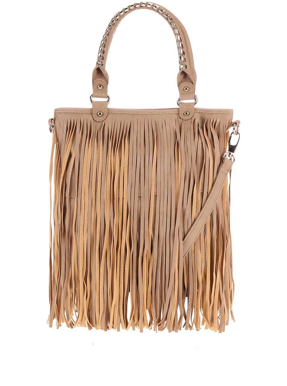 Béžová kabelka so strapcami Gessy ... 1e0f4d845cc