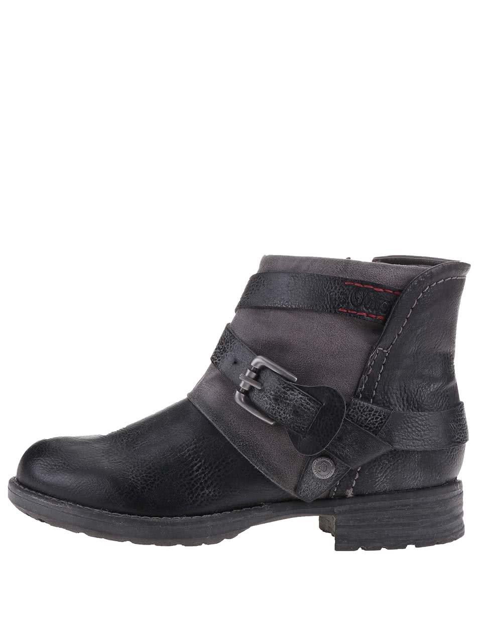 f2f92dc5ef1c9 Čierne dámske členkové topánky s prackou a remienkami s.Oliver | ZOOT.sk
