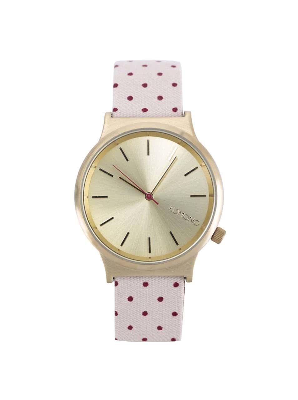 6f9d88563 Dámske hodinky v zlatej farbe s ružovým bodkovaným remienkom Komono Wizard  Print ...