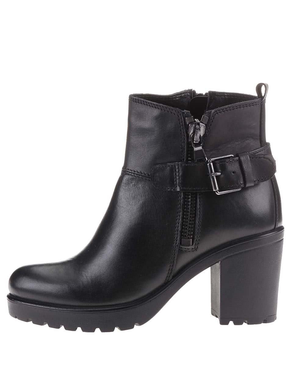 Čierne dámske kožené členkové topánky na širšom podpätku s.Oliver ... 31cdc315cfa