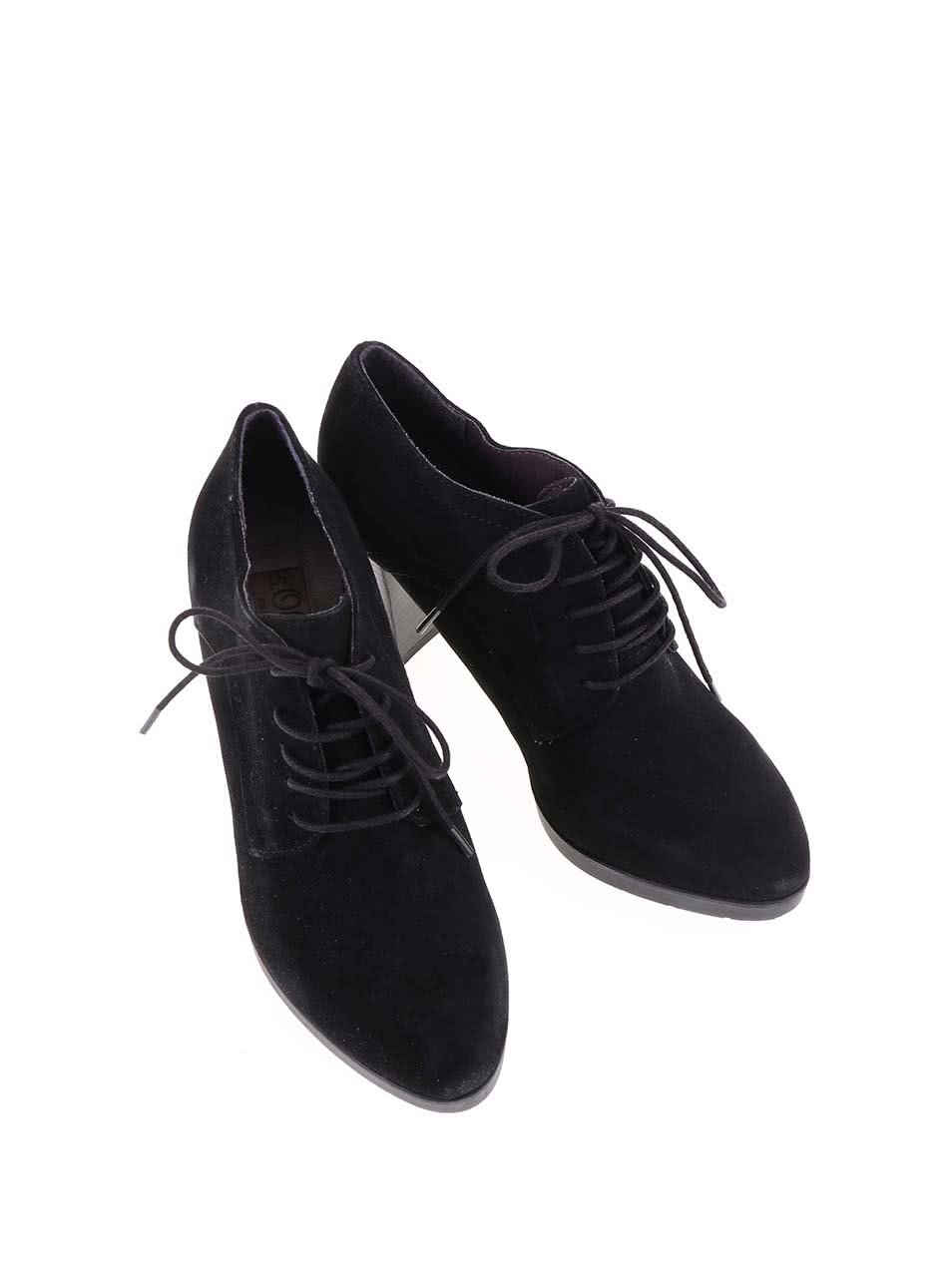 845b6fcf662 Černé dámské kožené šněrovací boty na podpatku s.Oliver