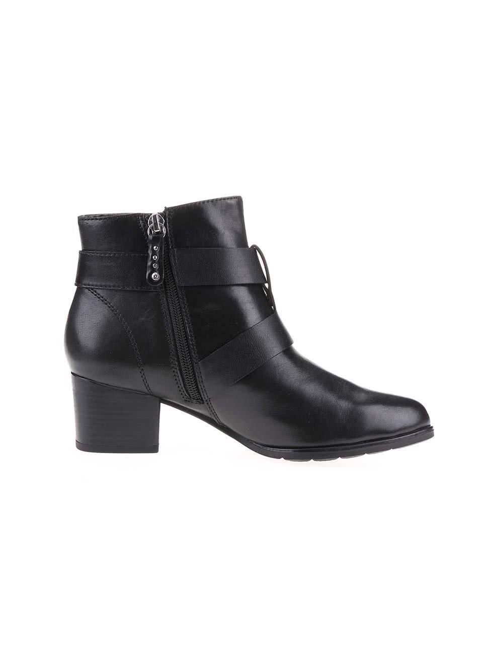 4d0ab1354a Čierne dámske kožené členkové topánky s prackami s.Oliver ...