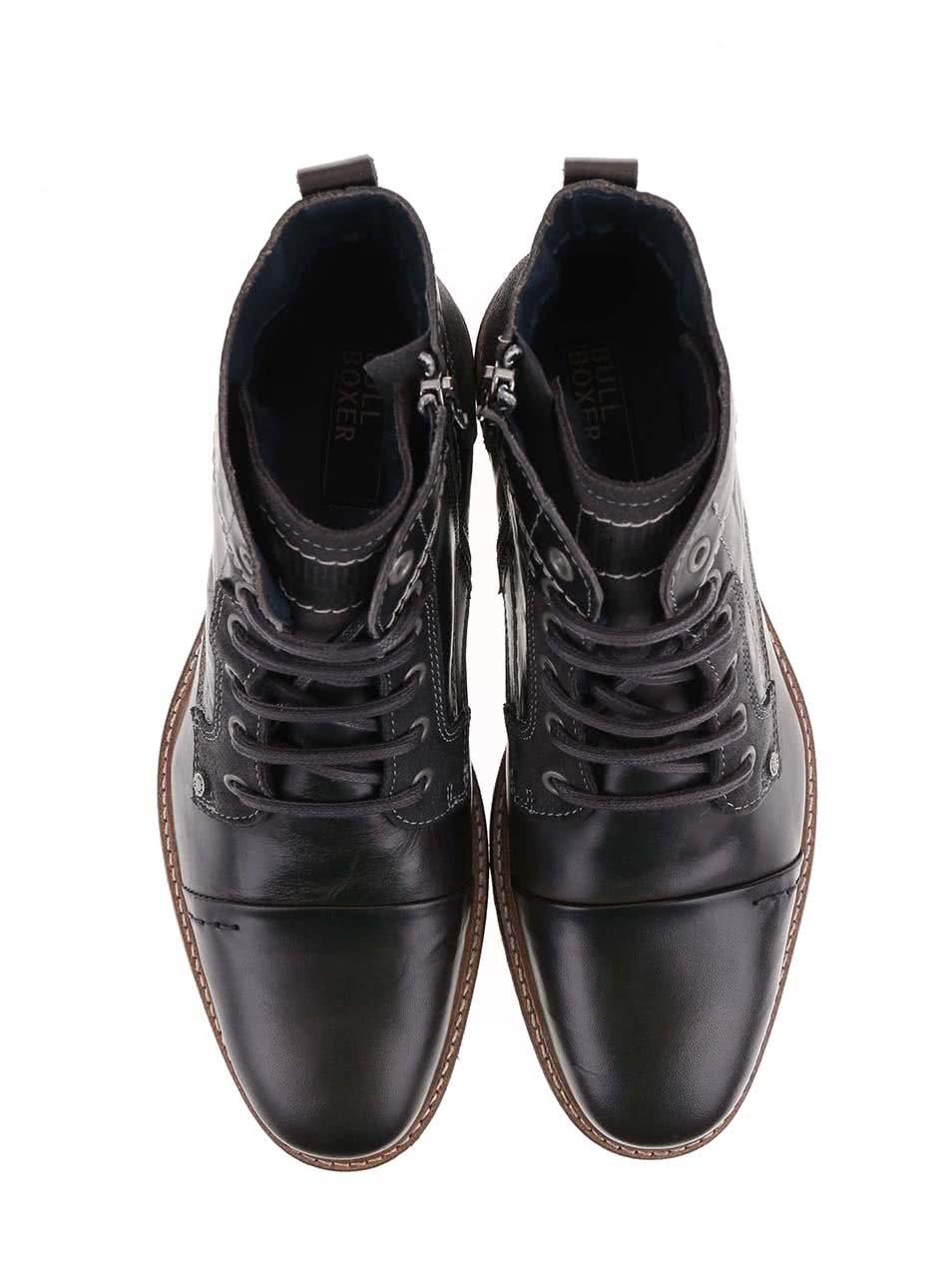 Sivohnedé pánske lesklé kožené členkové topánky so zipsom Bullboxer ... afa4616f23a