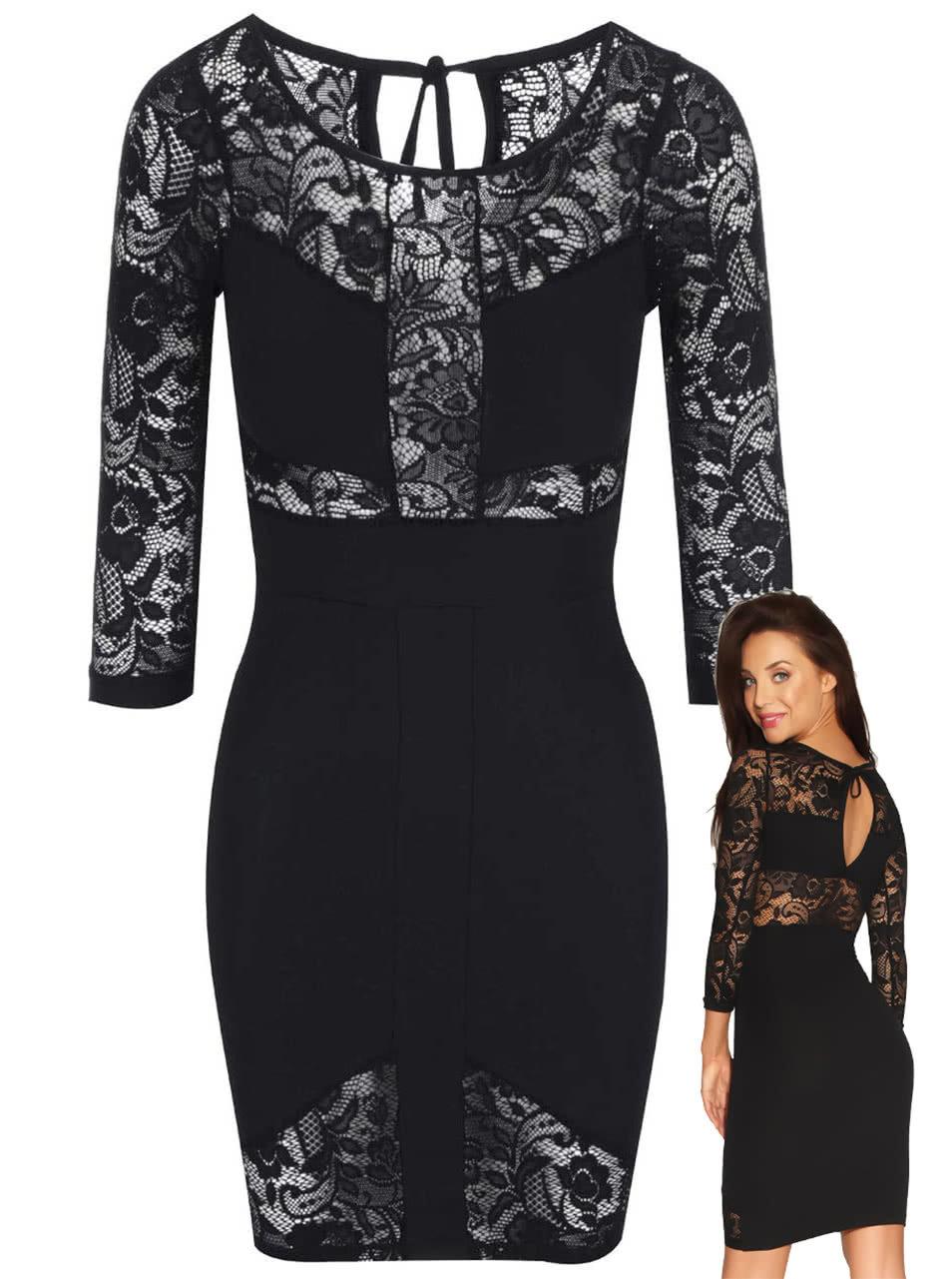9ea6ad2bb818 Luxusné čierne šaty s čipkou Quontum ...