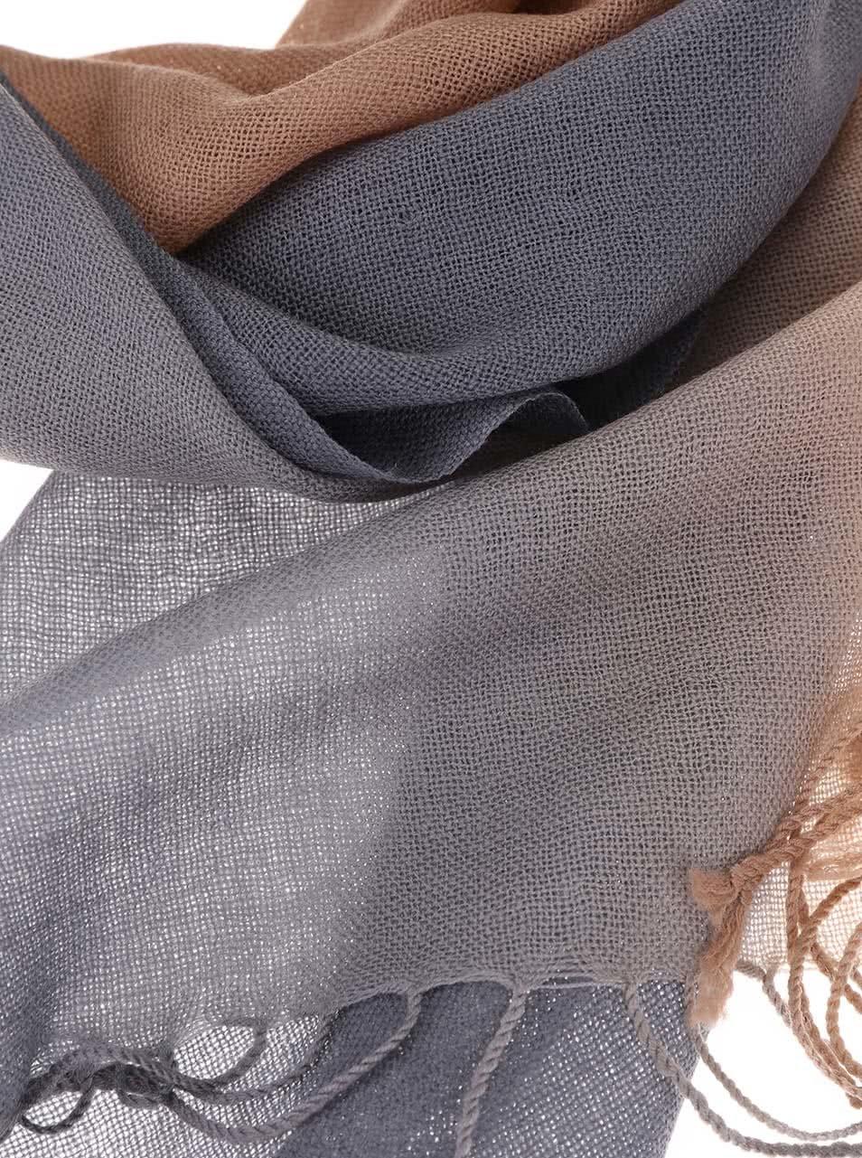 f6c2e1ff971 Hnědo-šedá dámská vlněná šála Fraas ...
