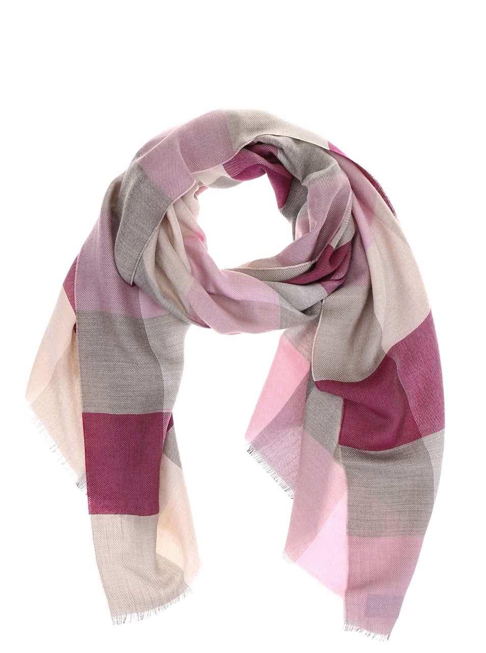 3daa541034dc Sivo-ružový dámsky kockovaný šál z hodvábu a ťavej vlny Fraas ...