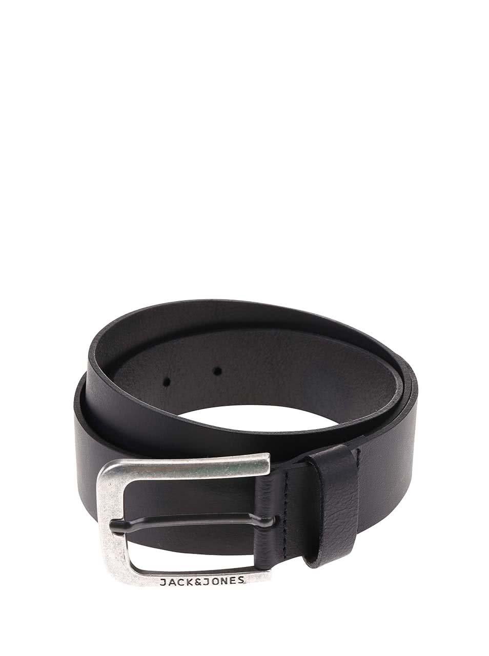 Černý kožený pásek Jack & Jones Alvin