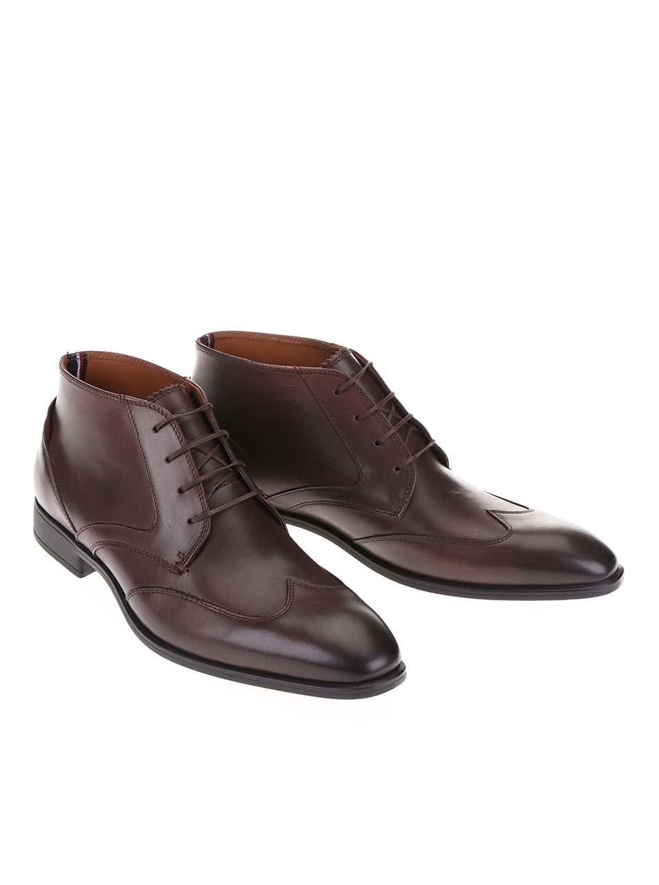 1e25f5f01f2 Tmavě hnědé kožené pánské kotníkové boty Tommy Hilfiger Tommy Rupert ...