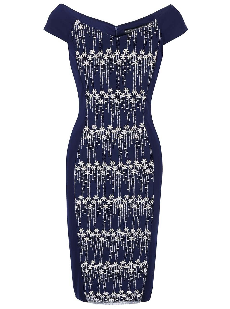 Tmavomodré puzdrové šaty s výšivkou Little Mistress ... d8d2eae0d29