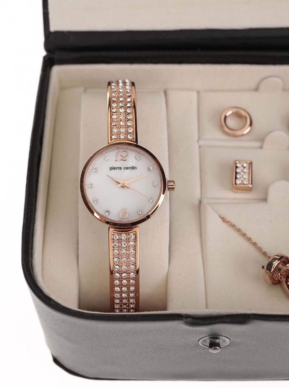 Růžový set hodinek a bižuterie v černé kazetě Pierre Cardin ... 9fe6e80e49