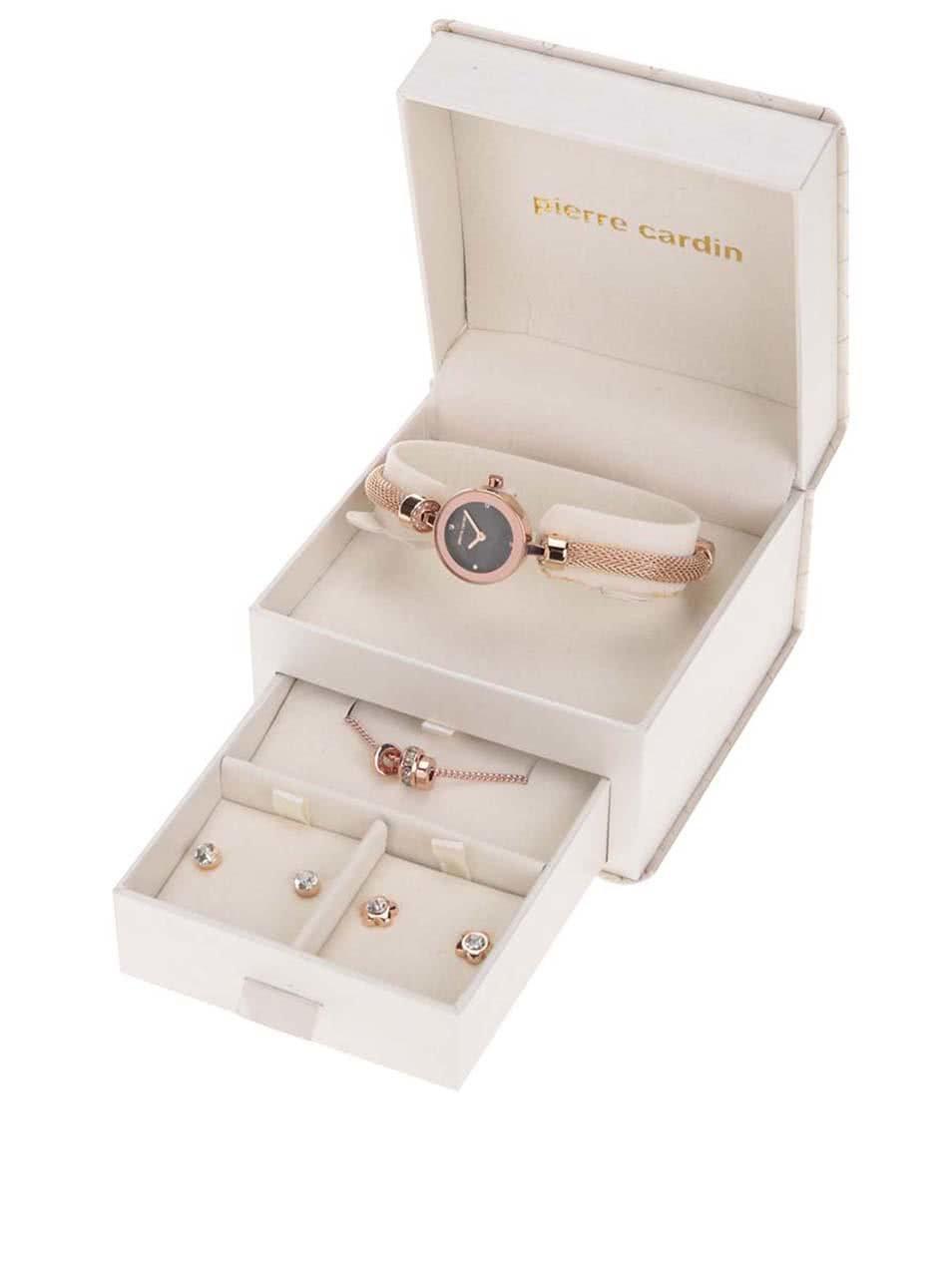 Hodinky se sadou šperků v bílé kazetě Pierre Cardin ... fb0d5b46651