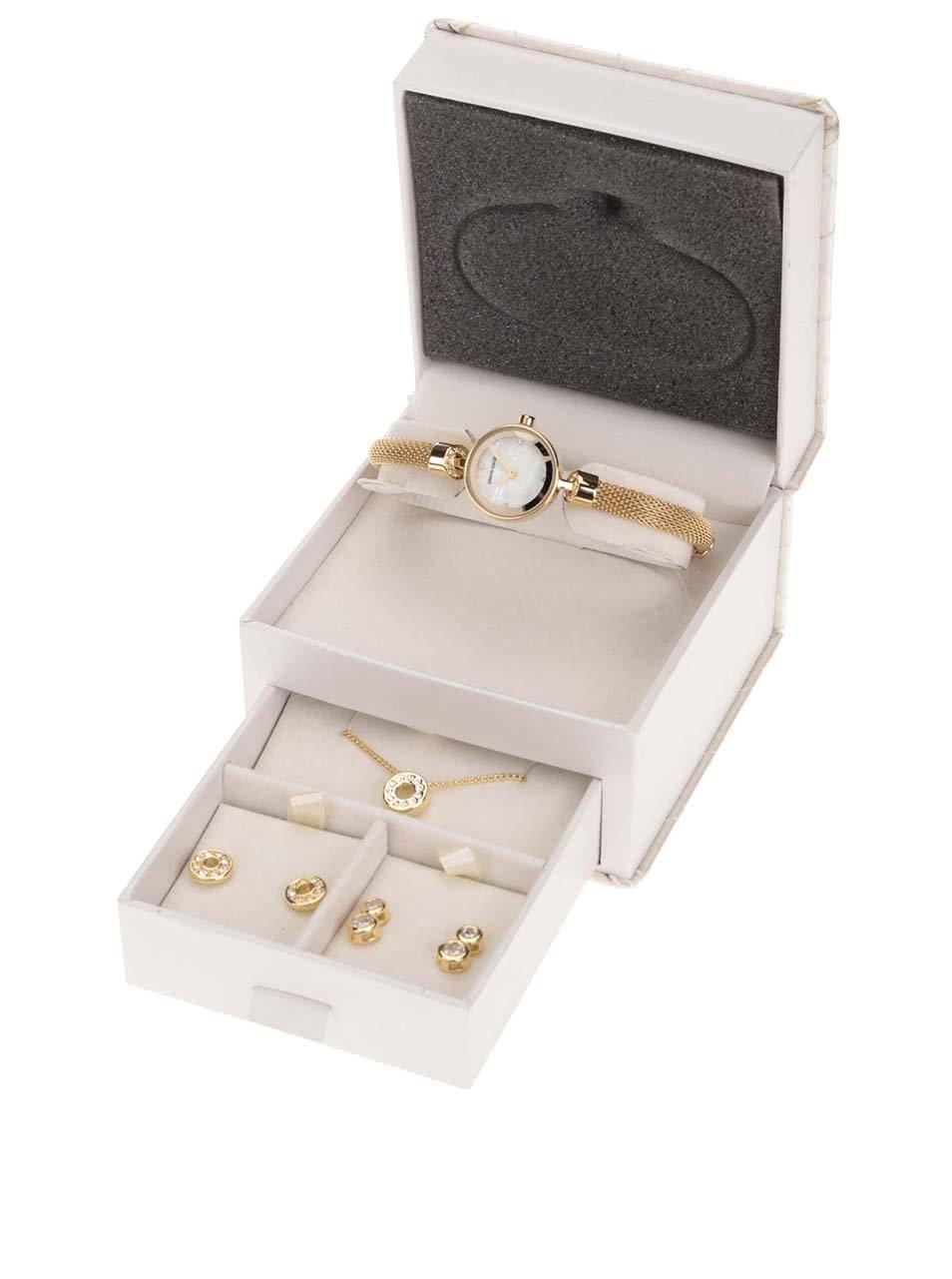 9182ebf5b28a Set dámských hodinek s řetízkem a náušnicemi ve zlaté barvě Pierre Cardin  ...