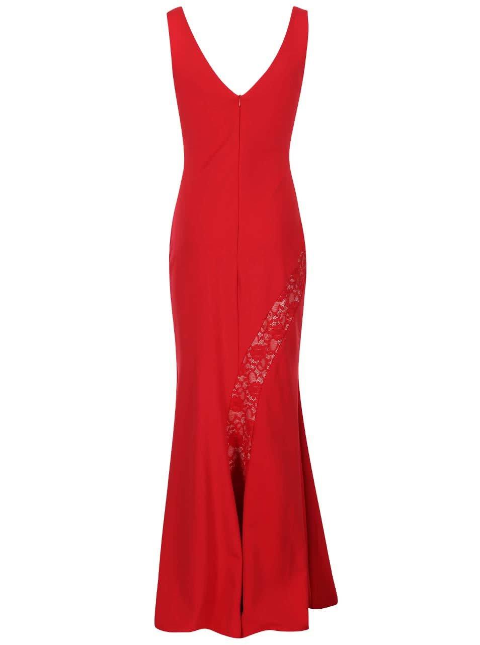 Červené dlouhé šaty s krajkovými detaily Lipstick Boutique Lena ... 5095e4d7aa