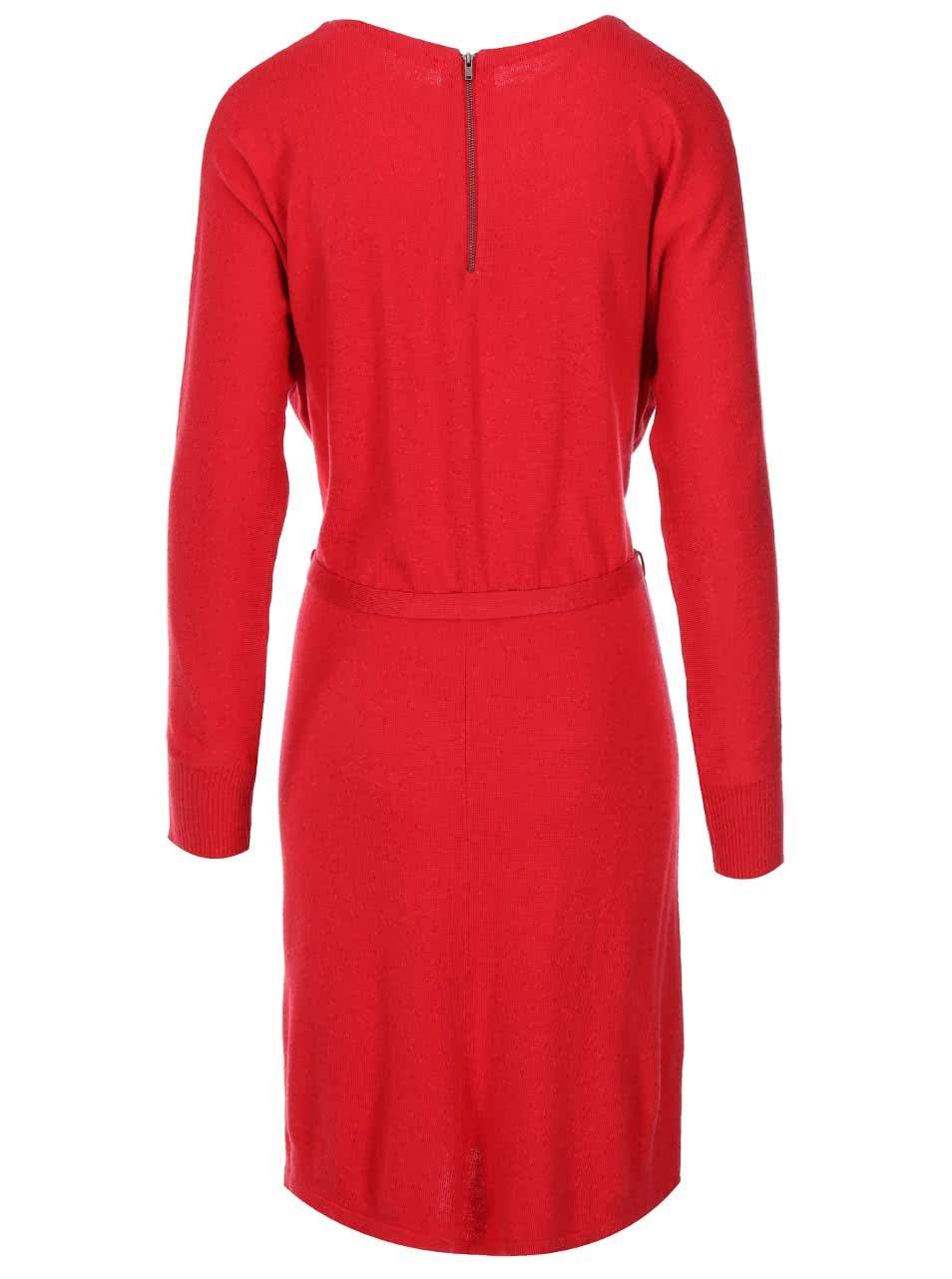 Červené úpletové šaty s dlouhým rukávem s.Oliver  4aaf160d58b