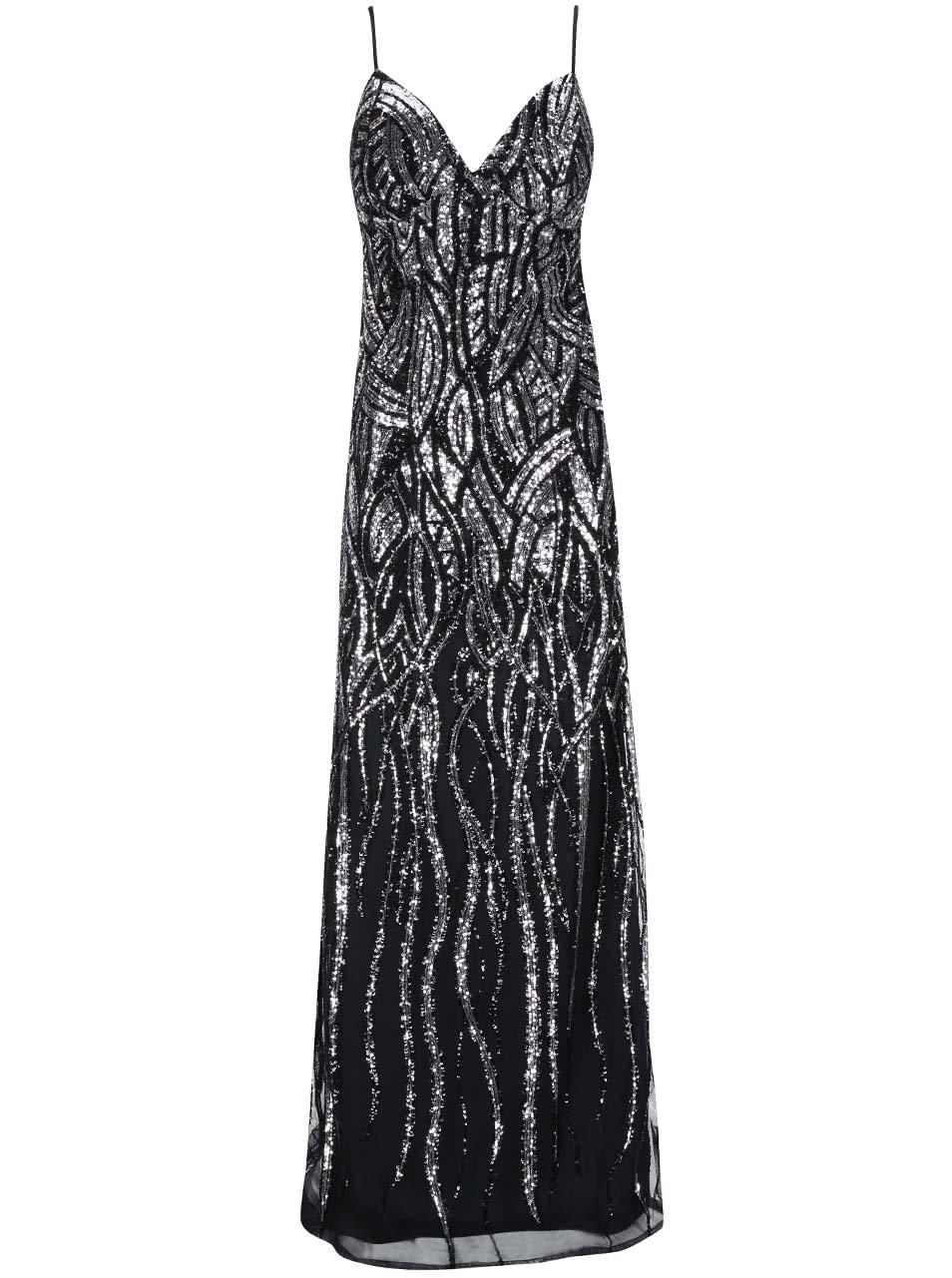Dlouhé šaty v černo-stříbrné barvě Goddiva ... 1d661b75f8