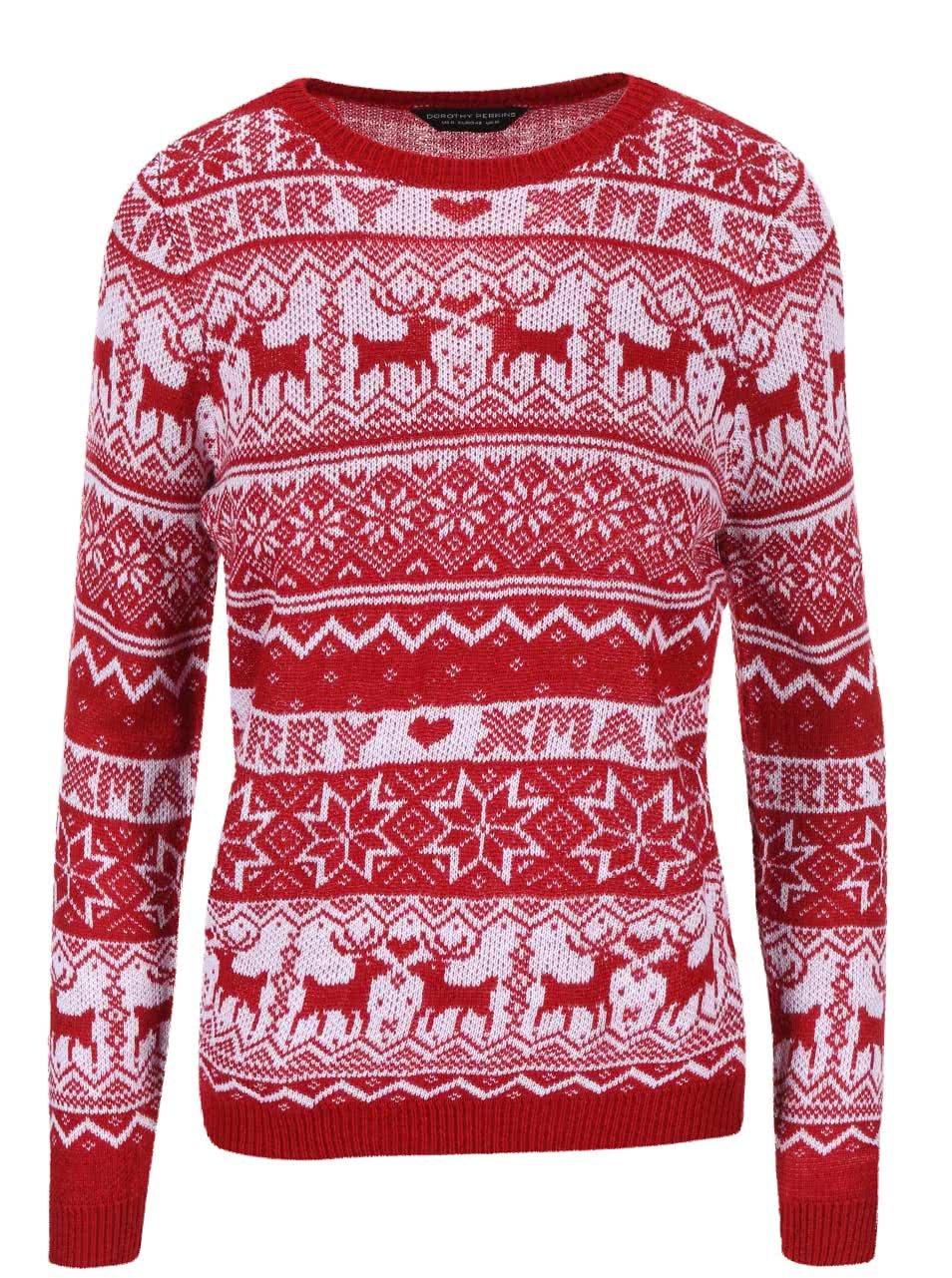 b43a495349a Bílo-červený svetr s vánočním motivem Dorothy Perkins ...