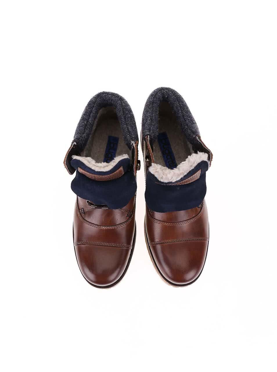 Hnědé pánské kožené kotníkové boty s umělou kožešinou bugatti Fox ... 47b05d6205