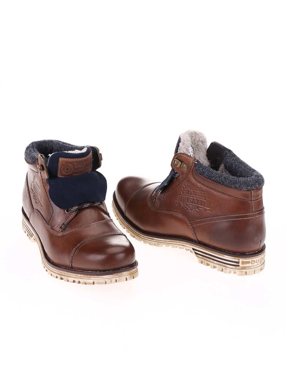 Hnědé pánské kožené kotníkové boty s umělou kožešinou bugatti Fox ... 08d6e4d17a