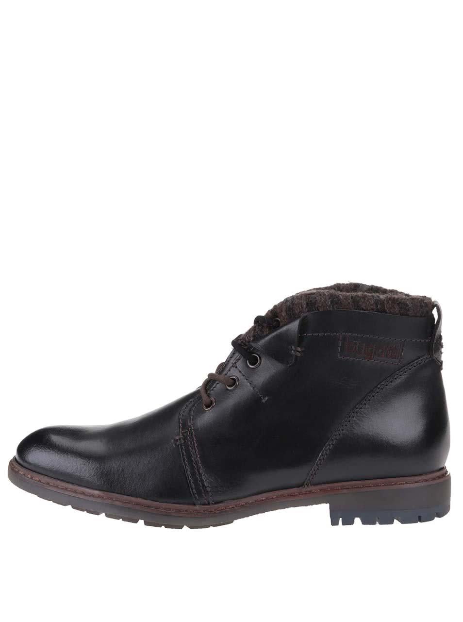 a7df302459f Černé pánské kožené kotníkové boty na zimu bugatti Roy ...