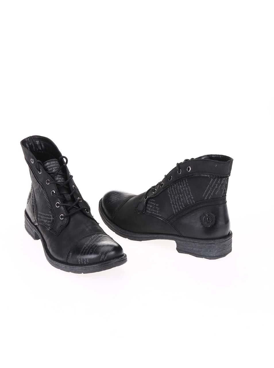 6e294ccff6 Čierne dámske kožené šnurovacie topánky bugatti Kyra ...