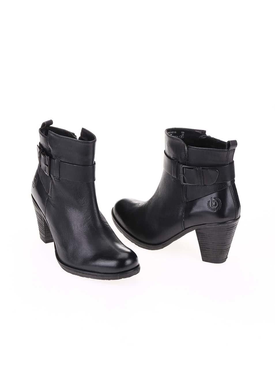 834553aa74 Čierne dámske kožené členkové topánky na podpätku bugatti Aurora ...