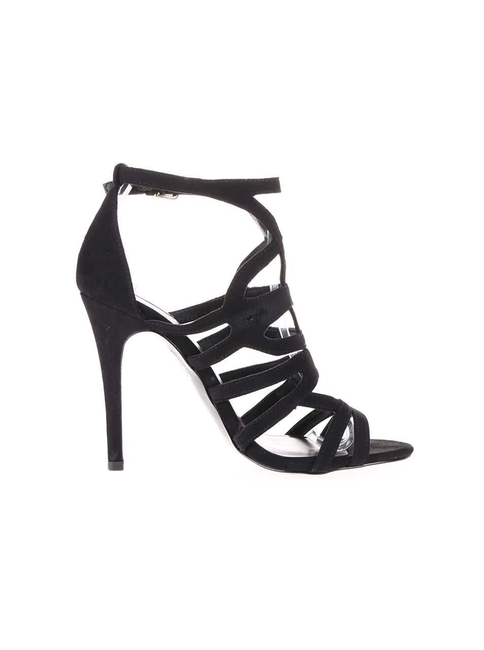 e9a50ea8d58 Černé páskové sandálky na vysokém podpatku ALDO Mattiace ...