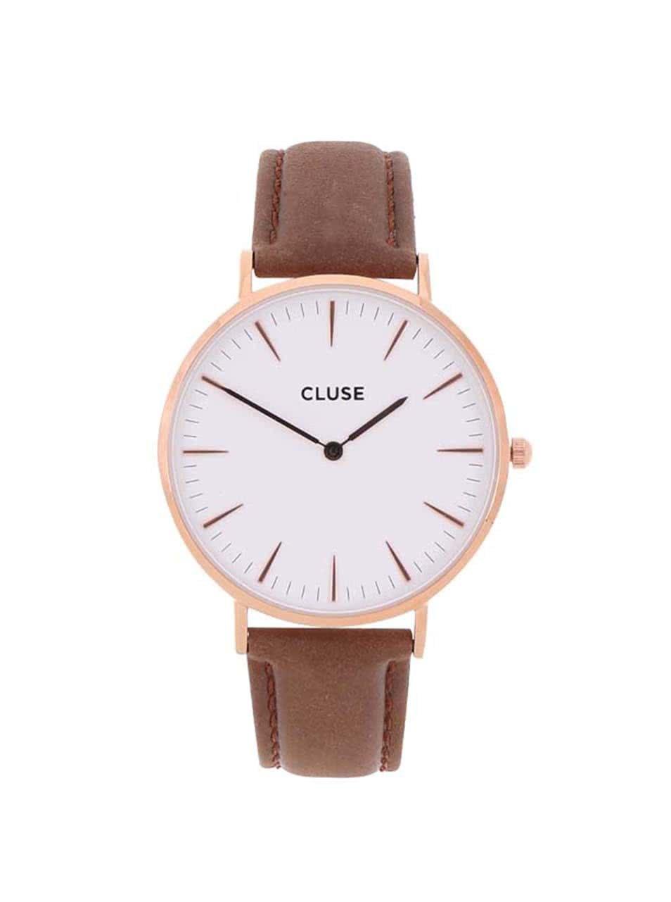 a9e131c2a94 Bílé unisex hodinky s tmavě hnědým koženým páskem CLUSE La Bohème Rose Gold  ...