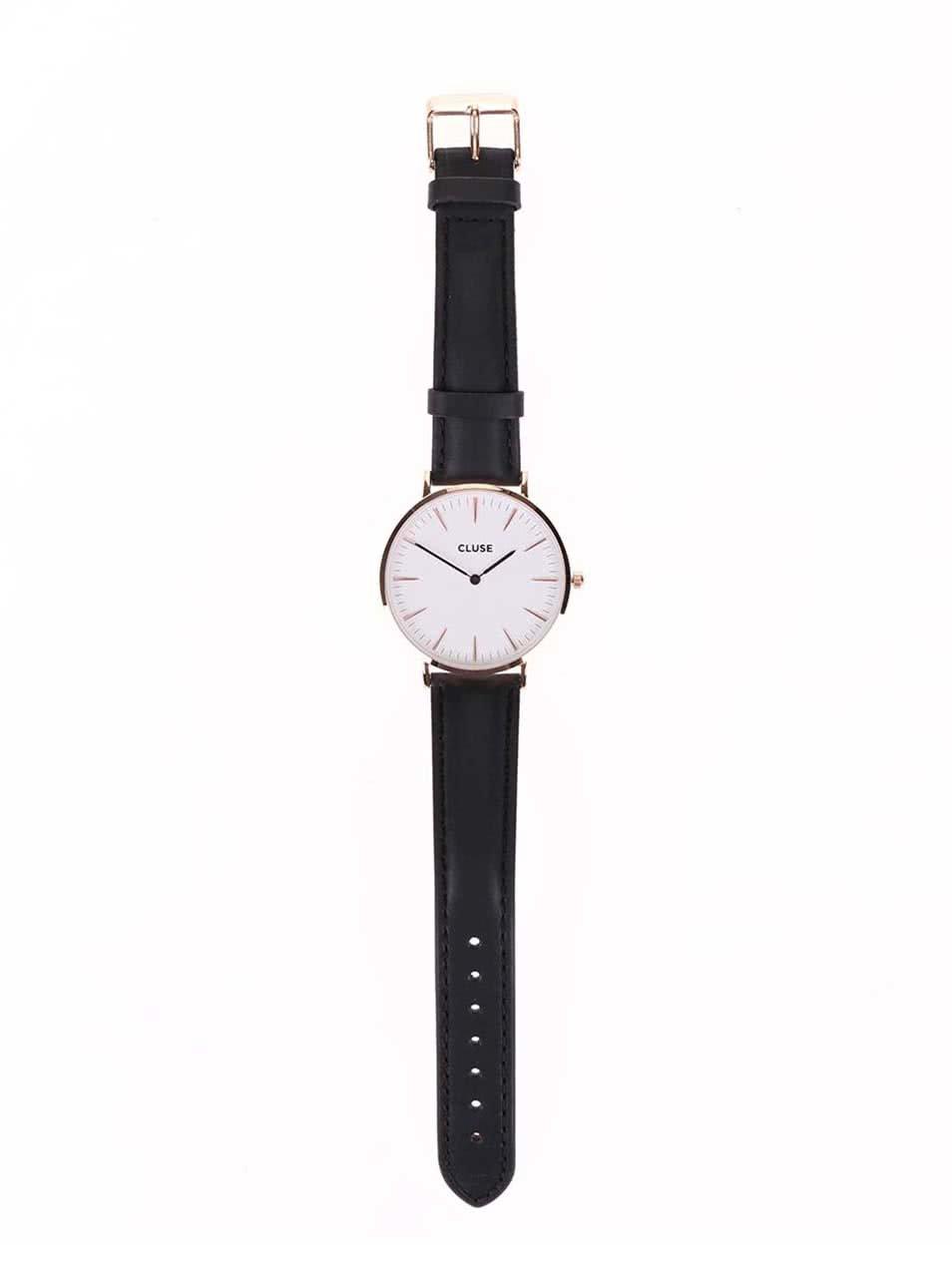 Bílo-černé dámské kožené hodinky CLUSE La Bohème Rose Gold ... fa82fd7772