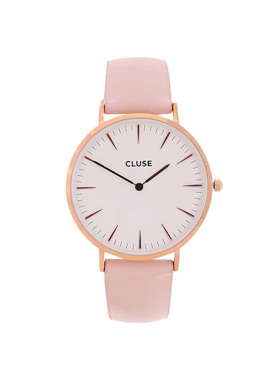 Bílo-růžové dámské kožené hodinky CLUSE La Bohème Rose Gold ... c4dab38de4