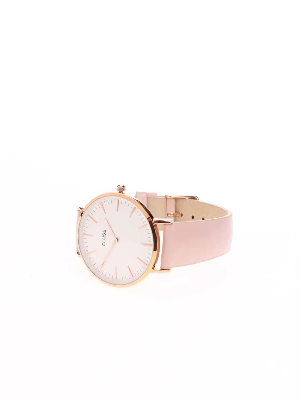 Bílo-růžové dámské kožené hodinky CLUSE La Bohème Rose Gold ... 59b6b44ede