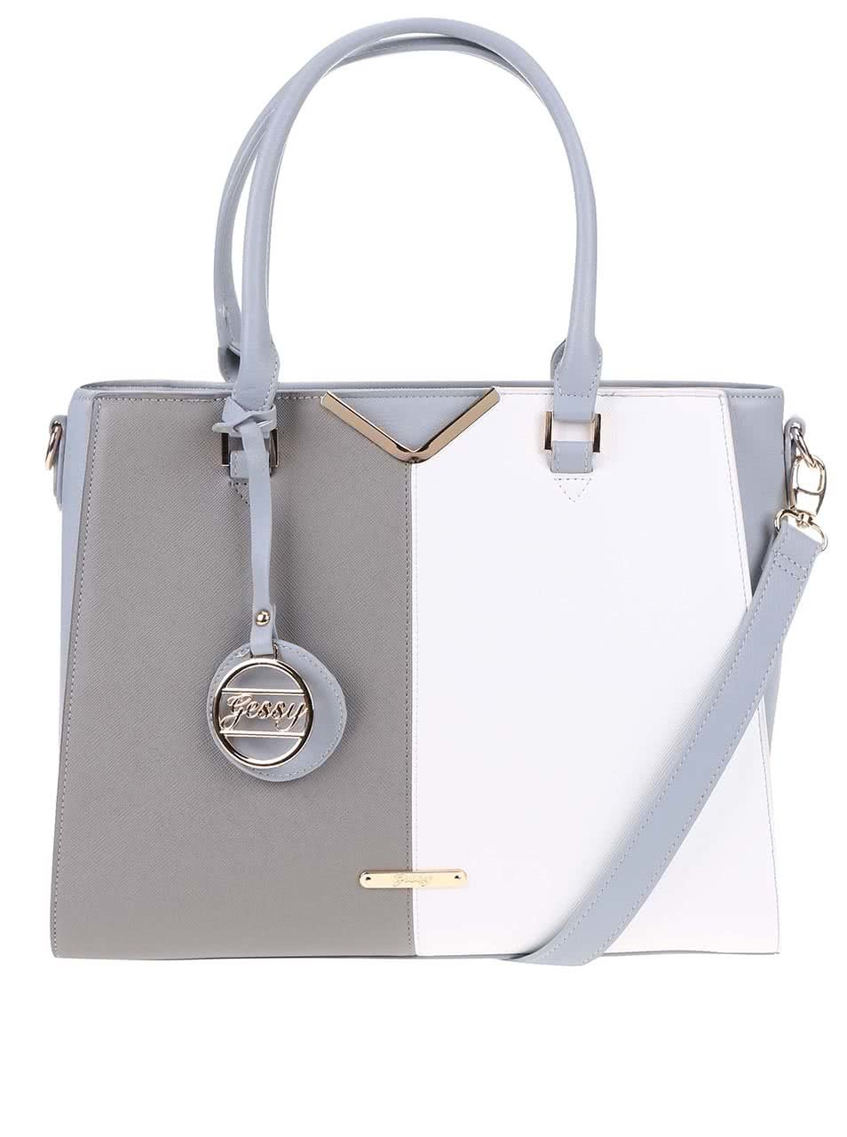 Bielo-sivá obdĺžniková väčšia kabelka Gessy ... 14d43a51d3a