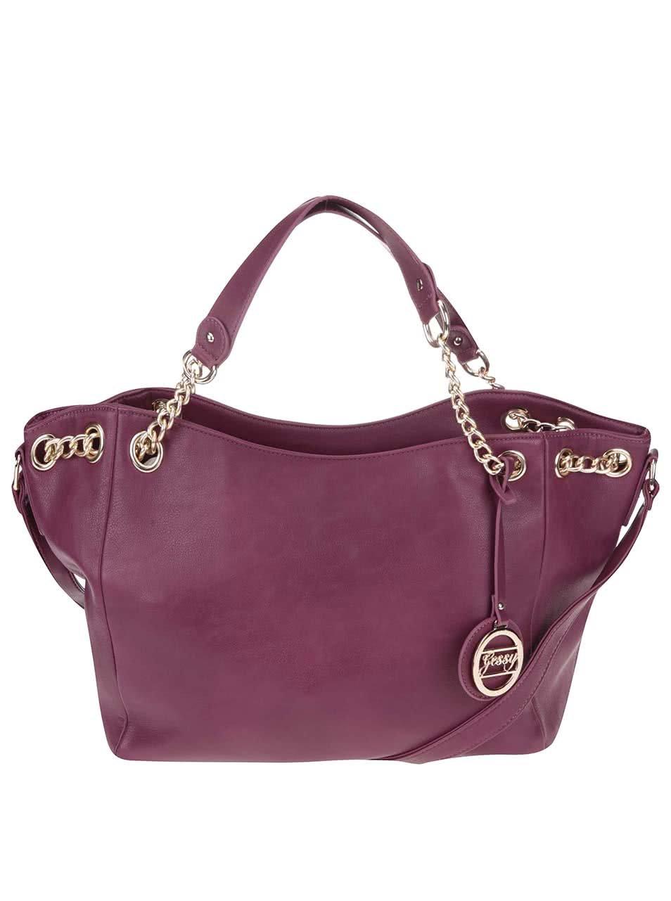 Ružovo-fialová väčšia kabelka s ozdobným príveskom Gessy ... 6381a2ce8f5